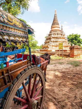horse drawn carriage: house carriage and Daw Gyan Pagoda complex, Ava, Myanmar