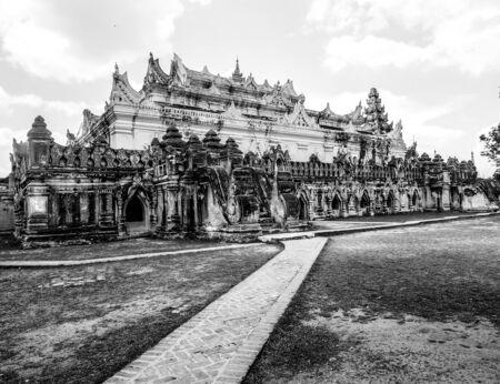nu: balck and white image of Maha Aung Mye Bon Zan Monastery in Ava, Myanmar