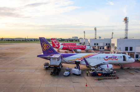 don: commercial airplanes in Don Muang international airport, Bangkok, Thailand Editorial