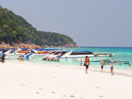 dive trip: Tourists at the beautiful beach of Tachai island in Phang-Nag, Thailand