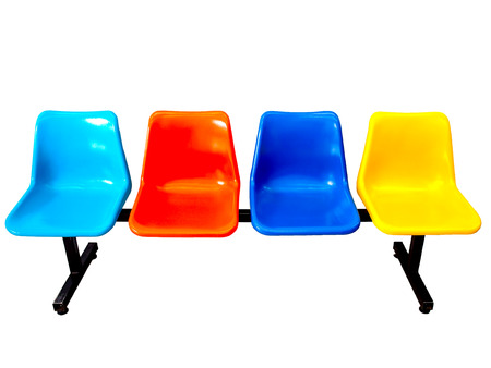 waiting in line: colorful row chair
