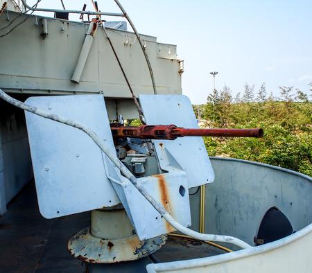 a battleship: old battleship machine gun Stock Photo