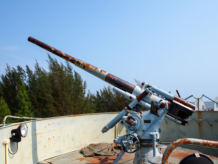 deck cannon: old battleship cannon Stock Photo