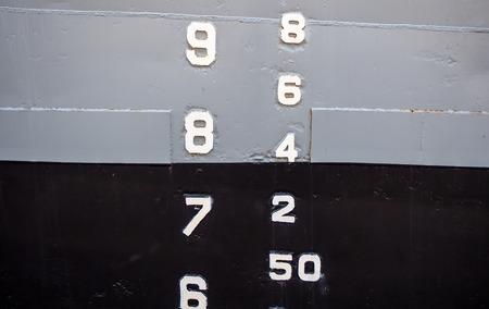 depth gauge: vessel water lavel Stock Photo