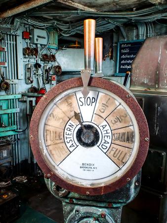 engine room: old battleship telegraph Stock Photo