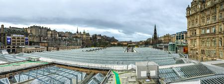 waverley: panoramic view of Edinburgh old town, Scotland, UK Editorial