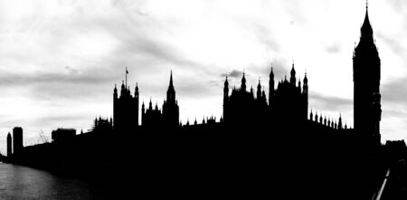 houses of parliament   london: silhouette of house of parliament and Big Ben, London, UK