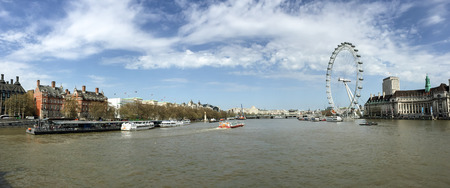 london eye: panorama view of Thames river with London Eye in London, UK