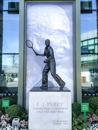 center court: Fred Perry statue at Wimbledon center court, London, UK