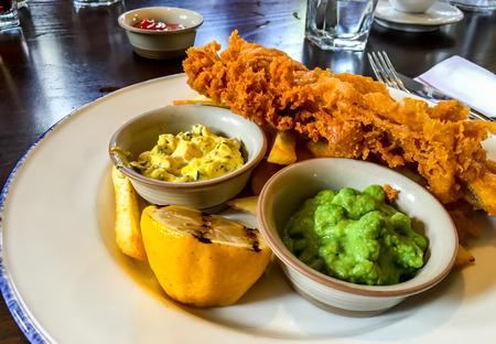 english food: traditional English food, fish and ship Stock Photo