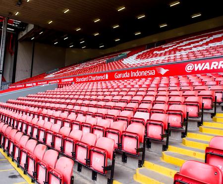 premier league: seat in Anfield stadium, Liverpool, UK