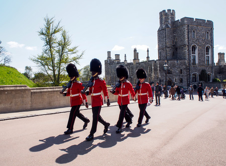 windsor: royal guards in Windsor castle, UK Editorial
