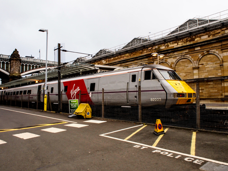 waverley: train at Edinburgh train station, Scotland, UK