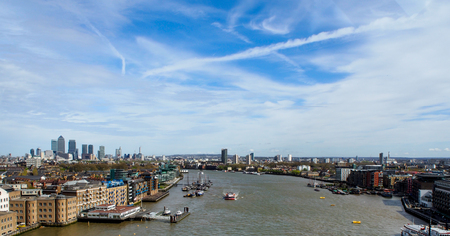 british english: landscape of river Thames from The Tower Bridge, London, UK