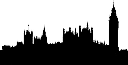 houses of parliament london: silhouette of Big Ben and house of parliament, London, UK Stock Photo