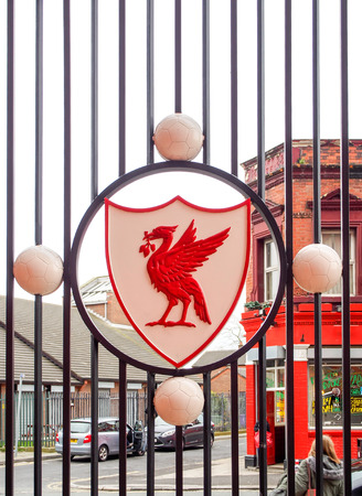 premiership: Liverpool club crest on the fence of Anfield stadium, Liverpool, UK