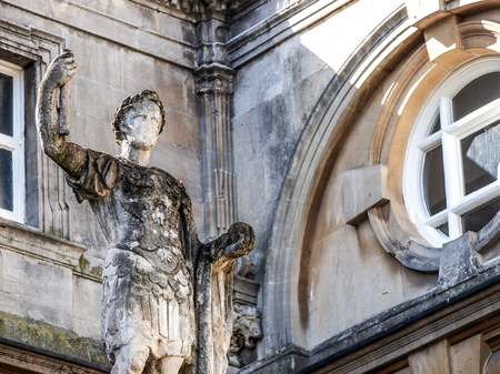 somerset: Roman sculpture at Bath historical site, Somerset, UK