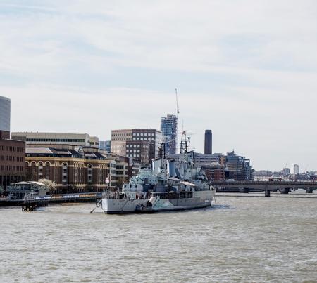battleship: battleship museum in Thames river, London, UK