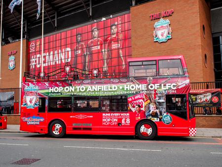 fresa turística en el estadio Anfield, Liverpool, Reino Unido