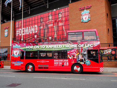 premiership: tourist bur at Anfield stadium, Liverpool, UK