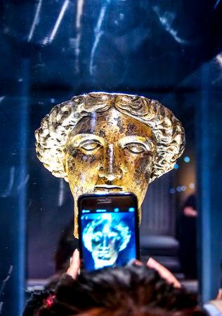somerset: godess of water in Roman Bath, Somerset, UK Editorial