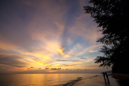 beach panorama: beautiful twilight sky at the beach in Thailand Stock Photo