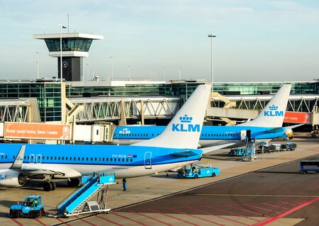 schiphol: commercial aircraft at Schiphol airport, Amsterdam, Netherlands