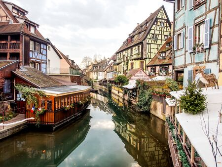 beautiful landscape of Colmar old town, Alsace, France Editorial