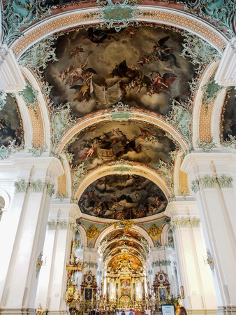 convent: beautiful decoration and painting in St. Gallen cathedral, Gt Gallen, Switzerland