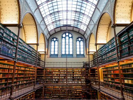 OLD LIBRARY: old library in Rijksmuseum, Amsterdam, Netherlands