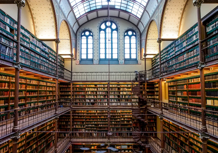 biblioteca: antigua biblioteca en el Rijksmuseum, Amsterdam, Países Bajos
