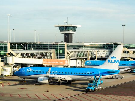 klm: KLM aircraft at Schiphol airport, Amsterdam, Netherlands