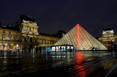 louvre: Louvre museum at night, Paris, France