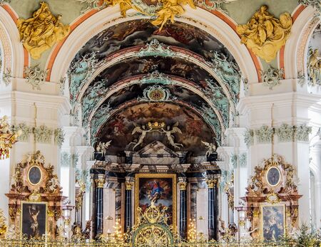 convent: beautiful decoration of St. Gallen cathedral, Switzerland