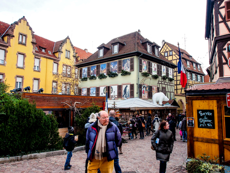 colmar: tourists in Colmar old town, Alsace, France Editorial