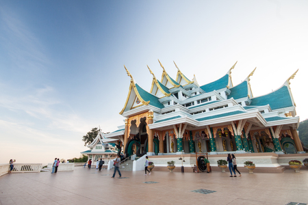 buddhist temple roof: Pho Kon temple, a beautiful temple in north-eastern of Thailand Stock Photo