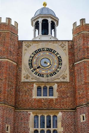 tudor: Hampton court palace with blue sky, United Kingdom