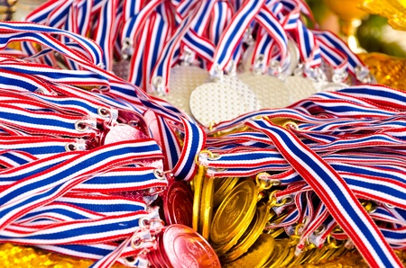 Ribbons of medal coins photo