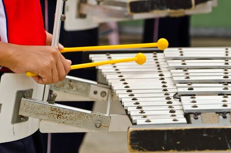 struck: playing xylophone Stock Photo