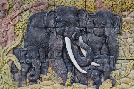 Elephant sculptures. Use to decorate a home photo