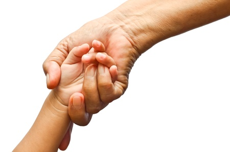 Holding girl's hand with love, isolated background