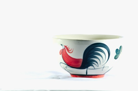 Chinese bowl, chicken on white background