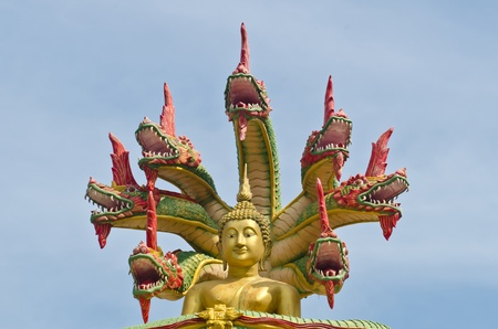 animal body part: Nak Prok Buddha statute,style of Buddha with a naga over His head Stock Photo