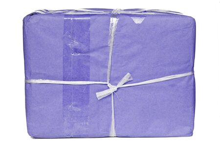 A parcel wrapped in purple paper