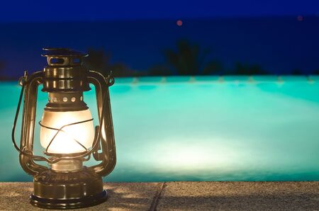 Lamp and jacuzzi with night views Stock Photo