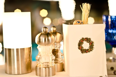 Set up dinner table for Xmas's Eve Stock Photo - 12138076
