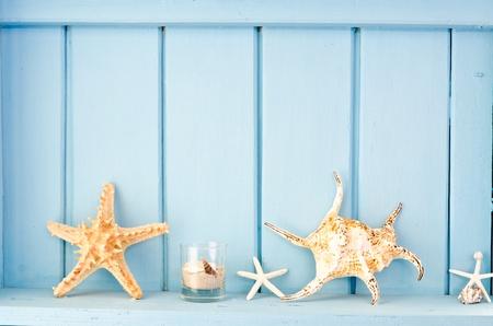 조개, 해변 스타일의 장식과 함께 파란색 벽 장식 스톡 콘텐츠