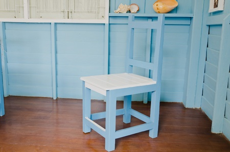 Blue chair in blue room, beach style decoration