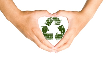 Hand holding recycle sign Stock Photo - 12782335
