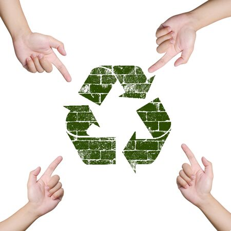 Hand pointing Recycle sign. Save the world concept Stock Photo - 12782351